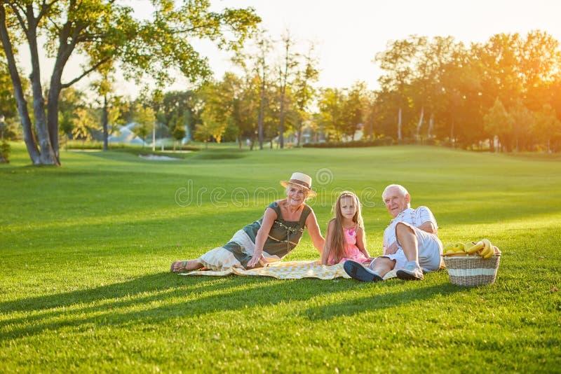 Kind met grootouders die picknick hebben stock fotografie