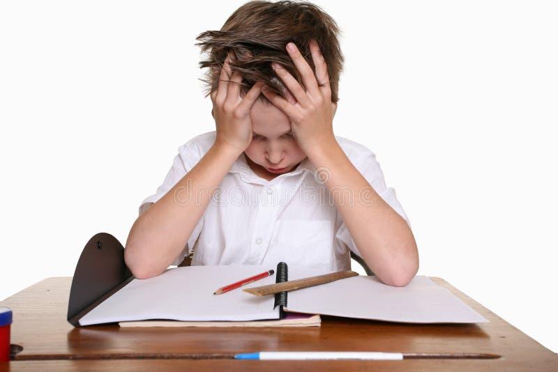 Kind met het leren van moeilijkheid royalty-vrije stock afbeeldingen