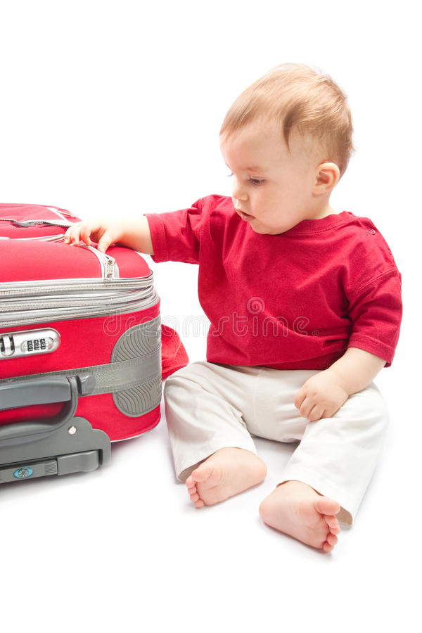 Kind met koffer royalty-vrije stock foto