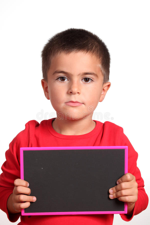 Kind met leeg bord royalty-vrije stock afbeeldingen