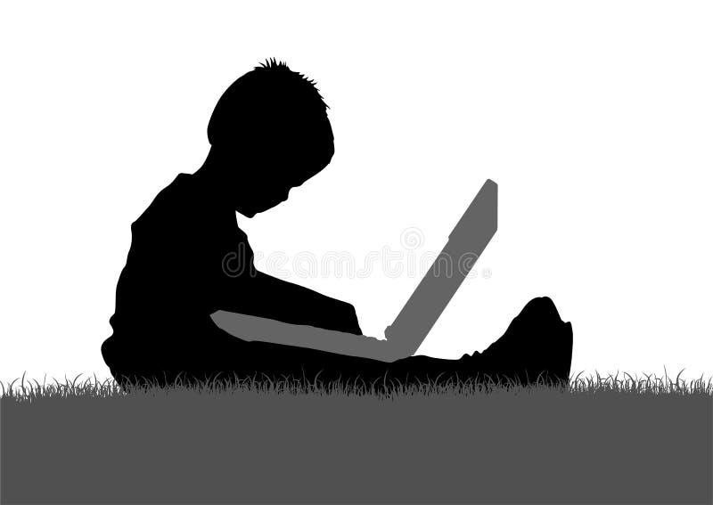 Kind met notitieboekjesilhouet stock illustratie