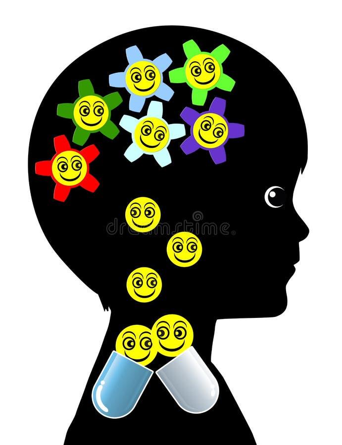 Kind met Pillenverslaving stock illustratie