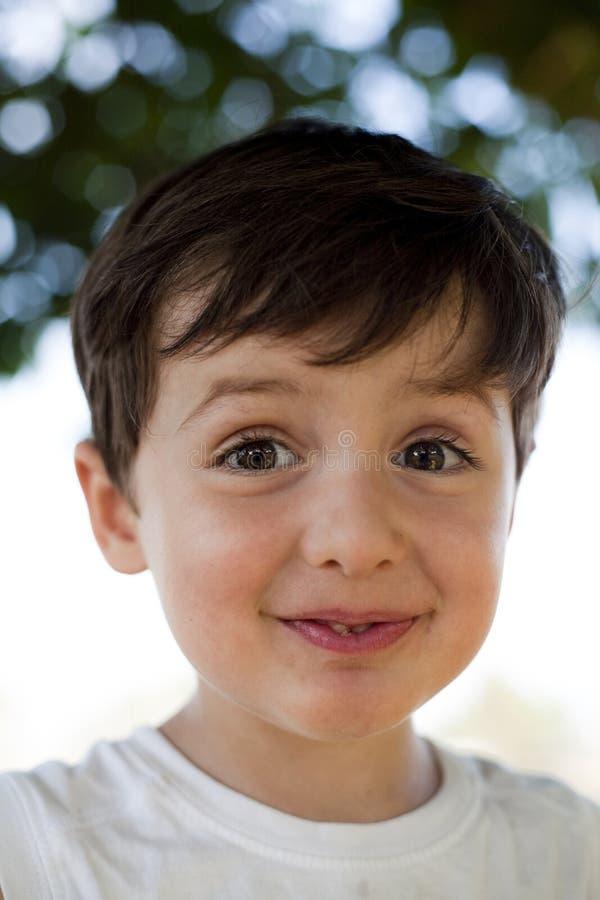 Kind met pretuitdrukking stock foto