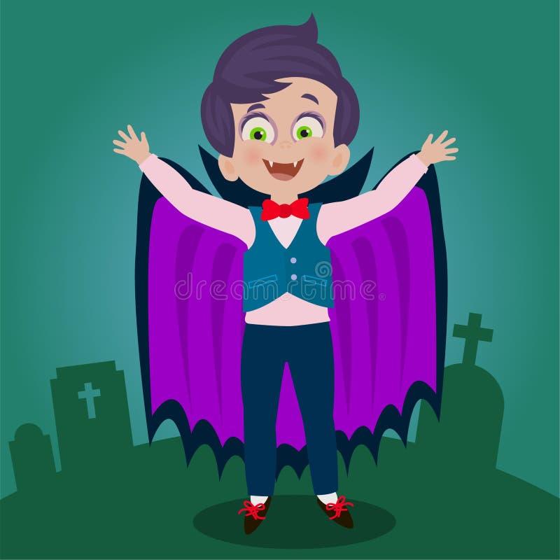 Kind met vampierkostuum stock illustratie