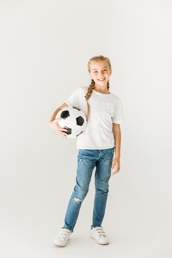 Kind met voetbalbal stock fotografie