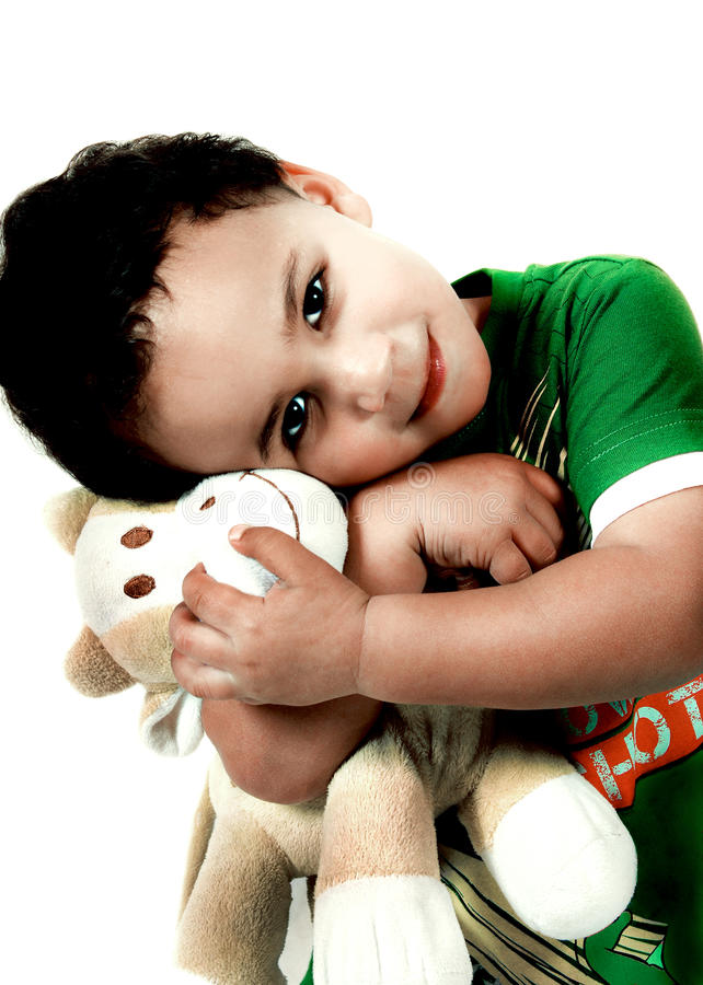 Kind met Zacht Stuk speelgoed stock foto's