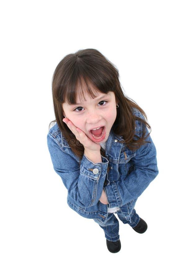 Kind mit überraschtem Ausdruck stockbild