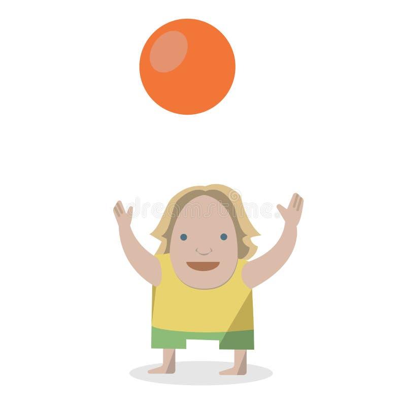 Kind mit Ball Vektorillustrationen auf einem weißen Hintergrund stock abbildung