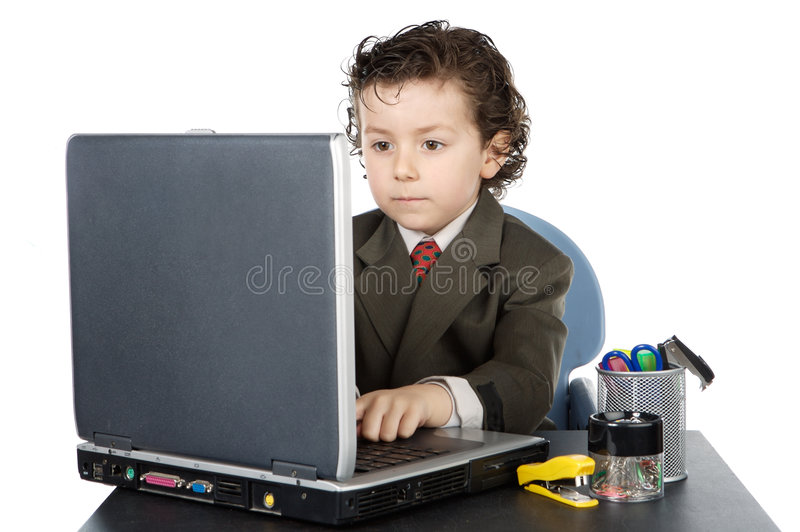 Kind mit Computer stockfoto