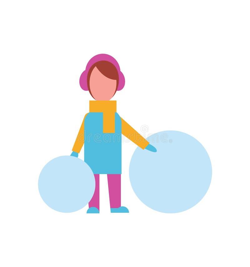 Kind mit den großen Bällen des Schnees gekleidet im warmen Stoff stock abbildung