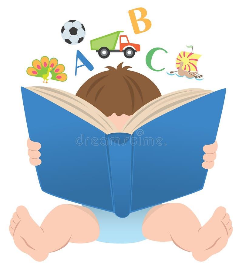 Kind mit einem Buch stock abbildung