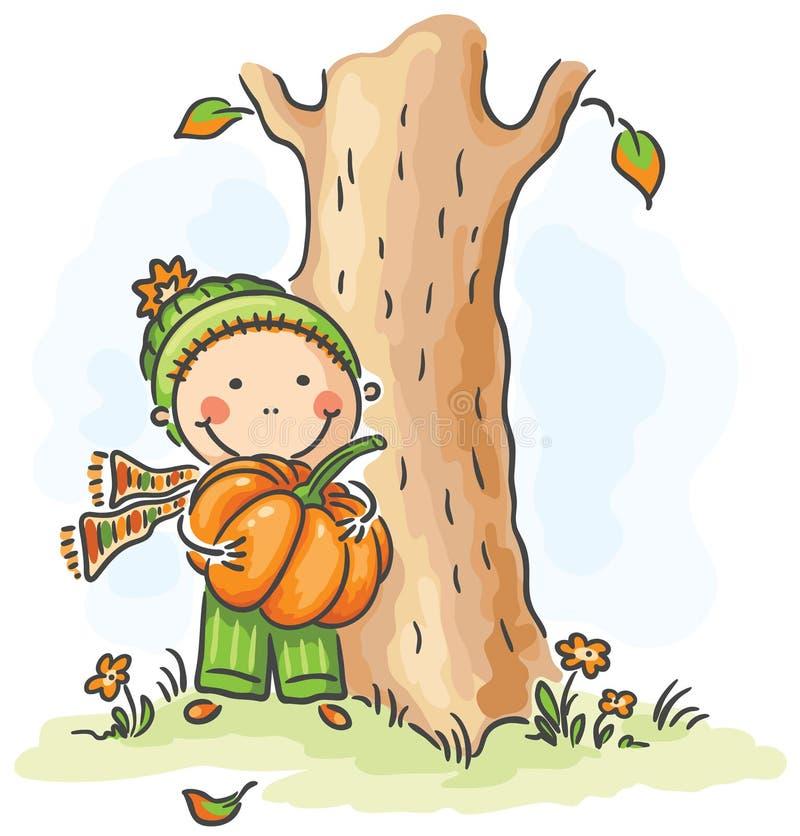 Kind mit einem Kürbis an einem Herbsttag lizenzfreie abbildung
