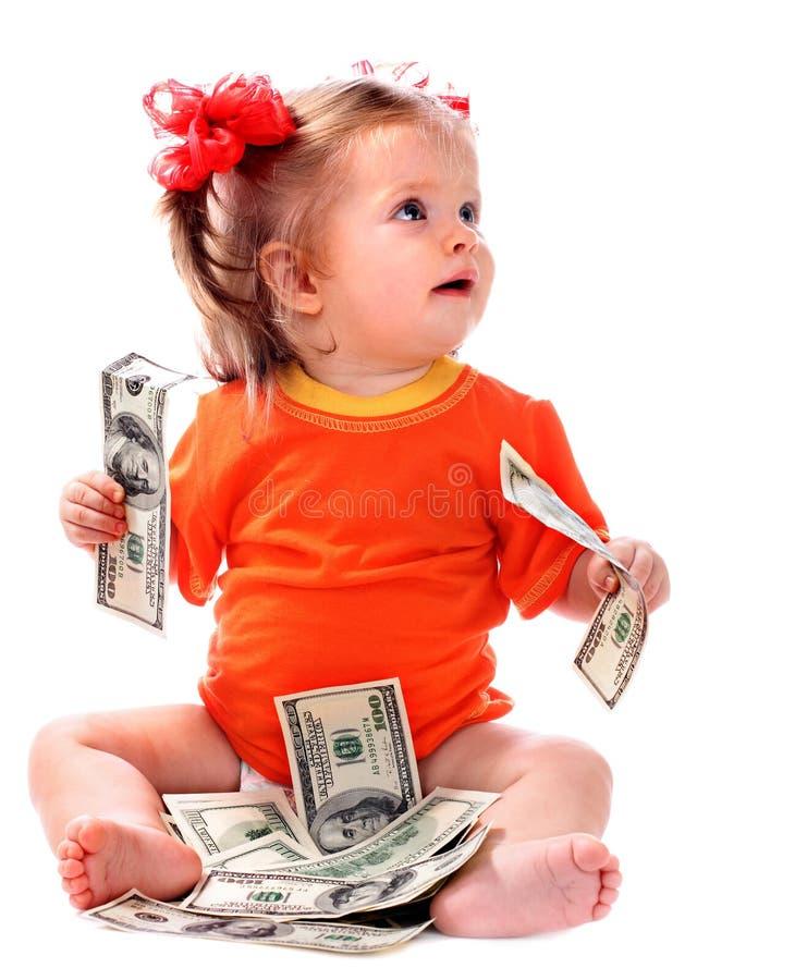 Kind mit Eurogeld. stockfotos