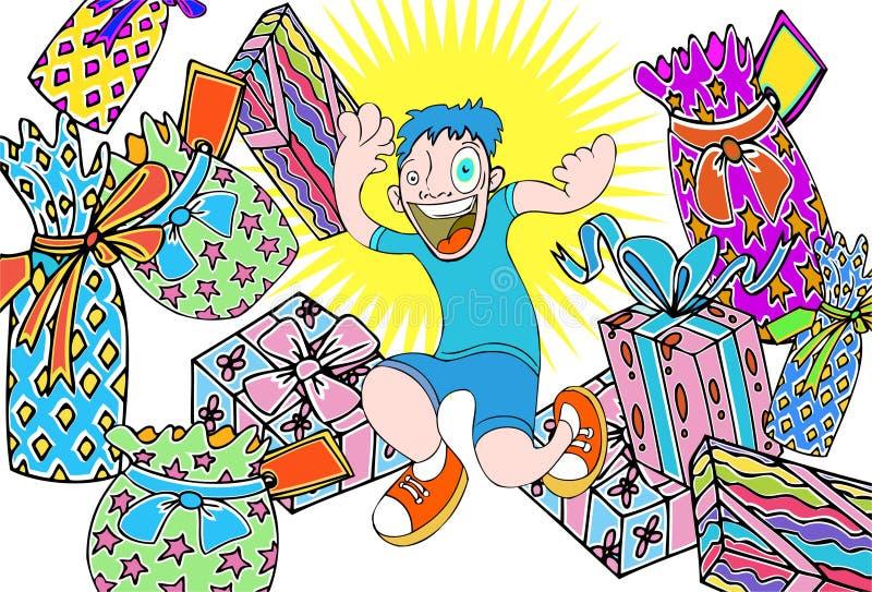 Kind mit Geschenken vektor abbildung