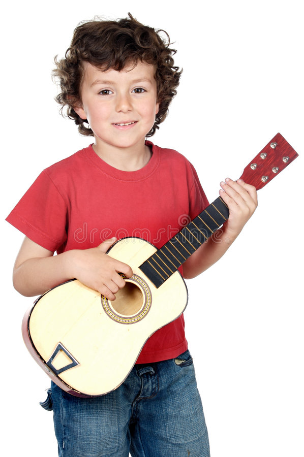 Kind mit Gitarre lizenzfreies stockfoto