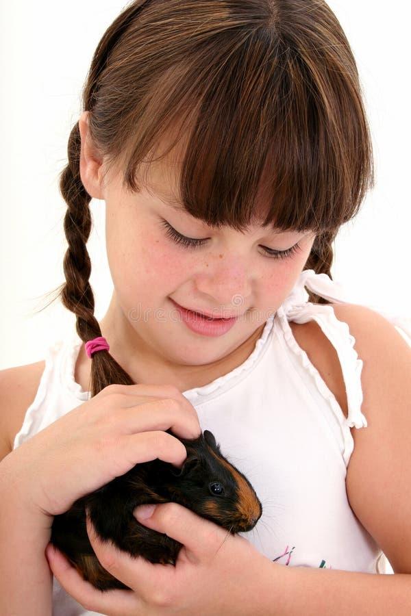 Kind mit Haustier-Meerschweinchen lizenzfreies stockbild