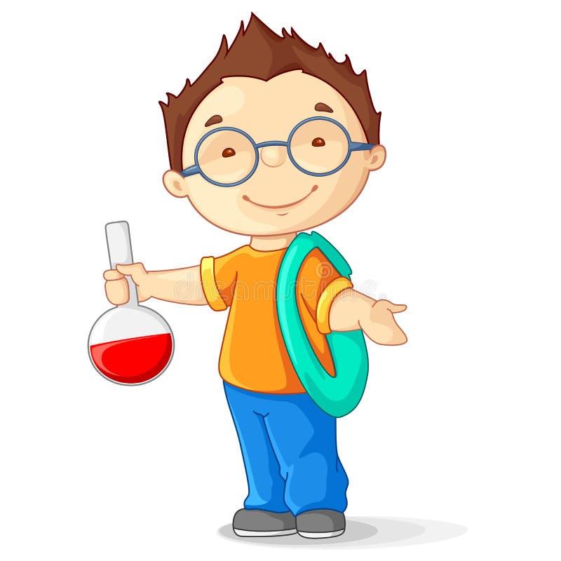Kind mit Laborflasche lizenzfreie abbildung