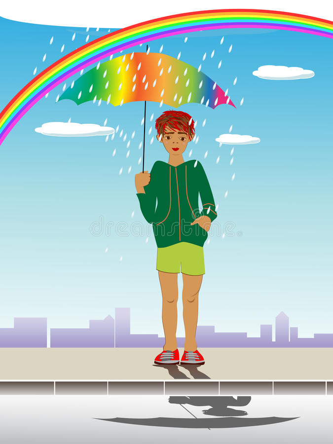 Kind mit Regenschirm lizenzfreie abbildung