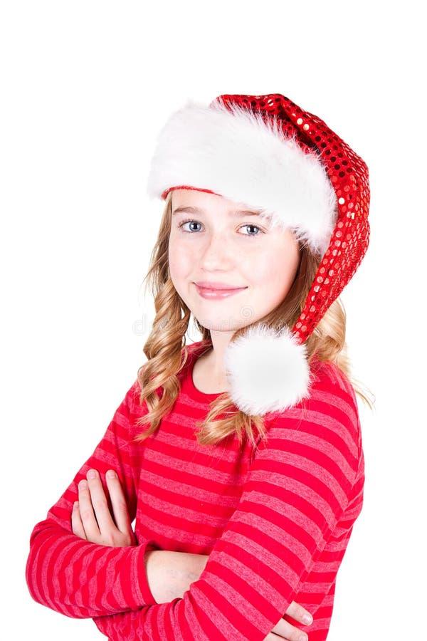 Kind oder jugendlich Mädchen, die einen Sankt-Hut tragen stockbild