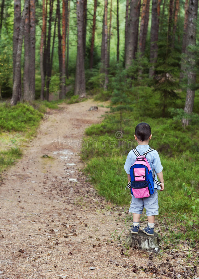 Kind op bosweg royalty-vrije stock afbeeldingen