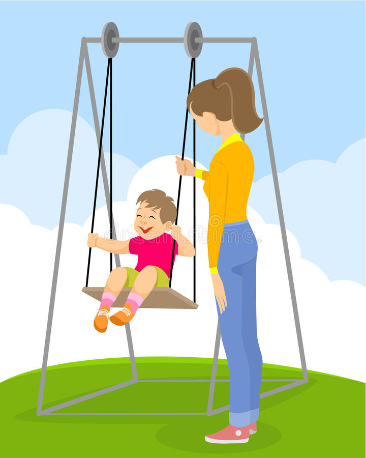 Kind op een schommeling vector illustratie