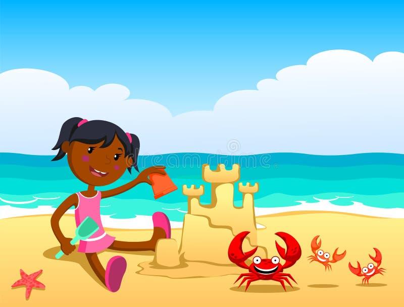 Kind op het strand royalty-vrije illustratie