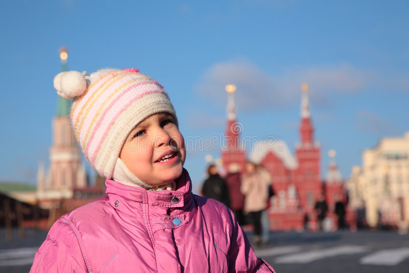 Kind op Rood Vierkant Moskou royalty-vrije stock foto's