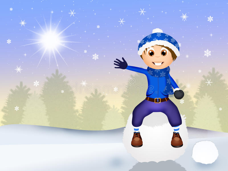 Kind op sneeuwbal vector illustratie