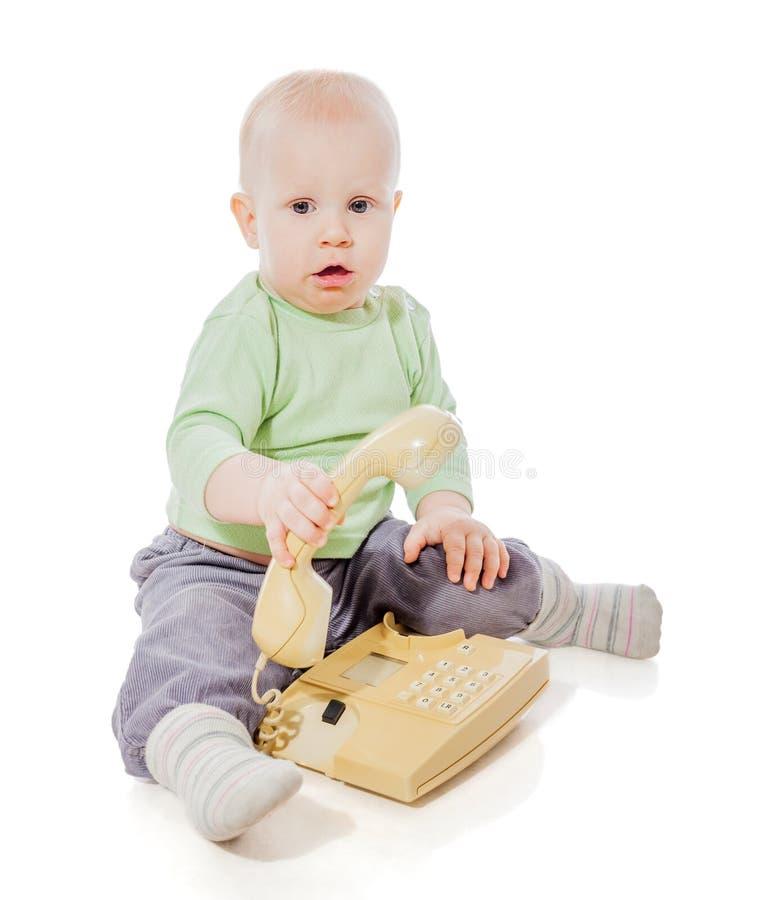 Kind op telefoon royalty-vrije stock foto