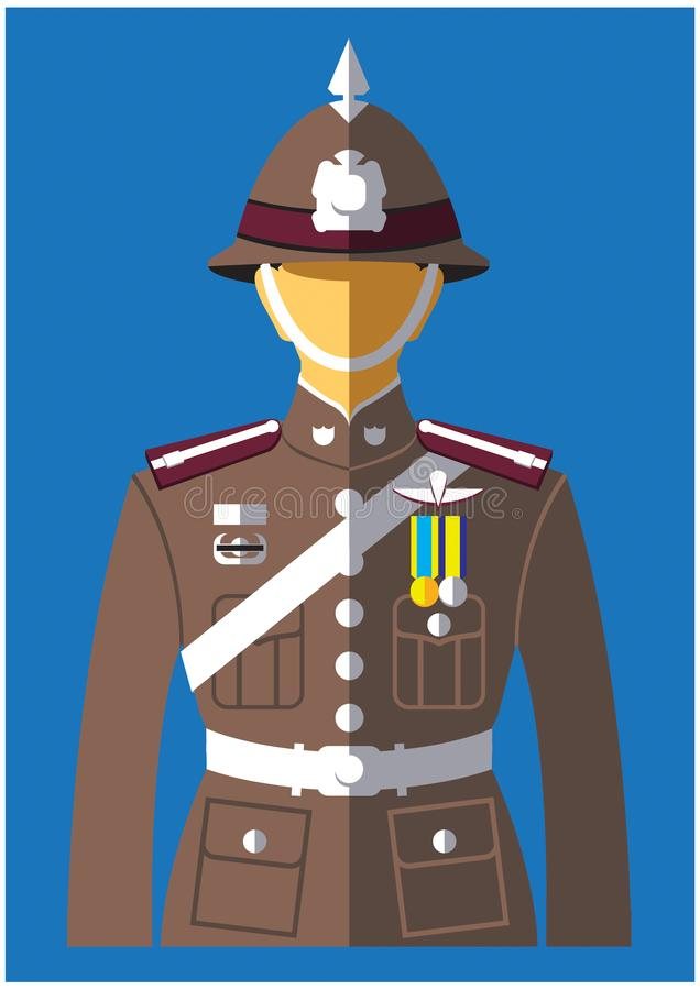 A kind of Police uniform. The Royal Thai Police RTP Thai: ตำรวจแห่งชาติ; RTGS: tamruat haeng royalty free illustration