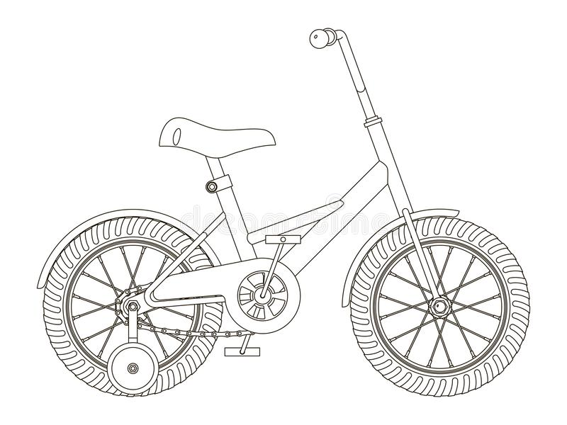 Kind-` s Fahrrad mit abnehmbaren Trainingsrädern, Entwurfsvektorillustration, Seitenansicht vektor abbildung