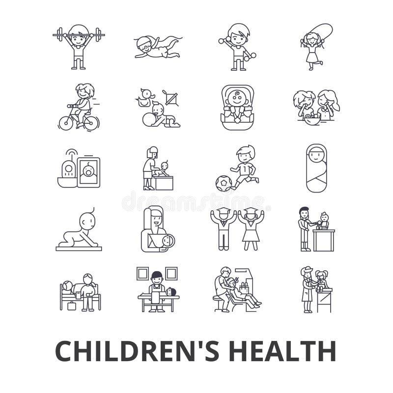 Kind-` s Gesundheit, Kinder, Essen gesund, Doktor, Spielen, glücklich, Kindertagesstättenlinie Ikonen Editable Anschläge Flaches  stock abbildung