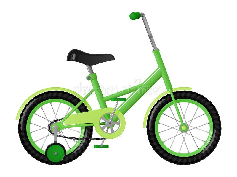 Kind-` s Grünfahrrad mit abnehmbaren Trainingsrädern vektor abbildung