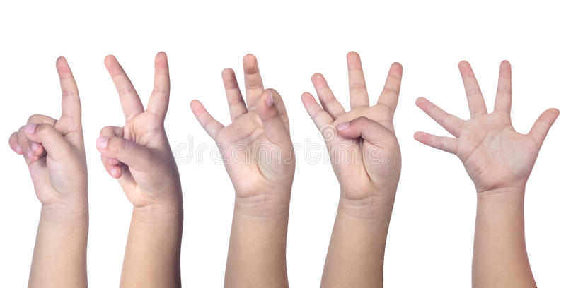 Kind` s handen die van één tot vijf tellen royalty-vrije stock fotografie
