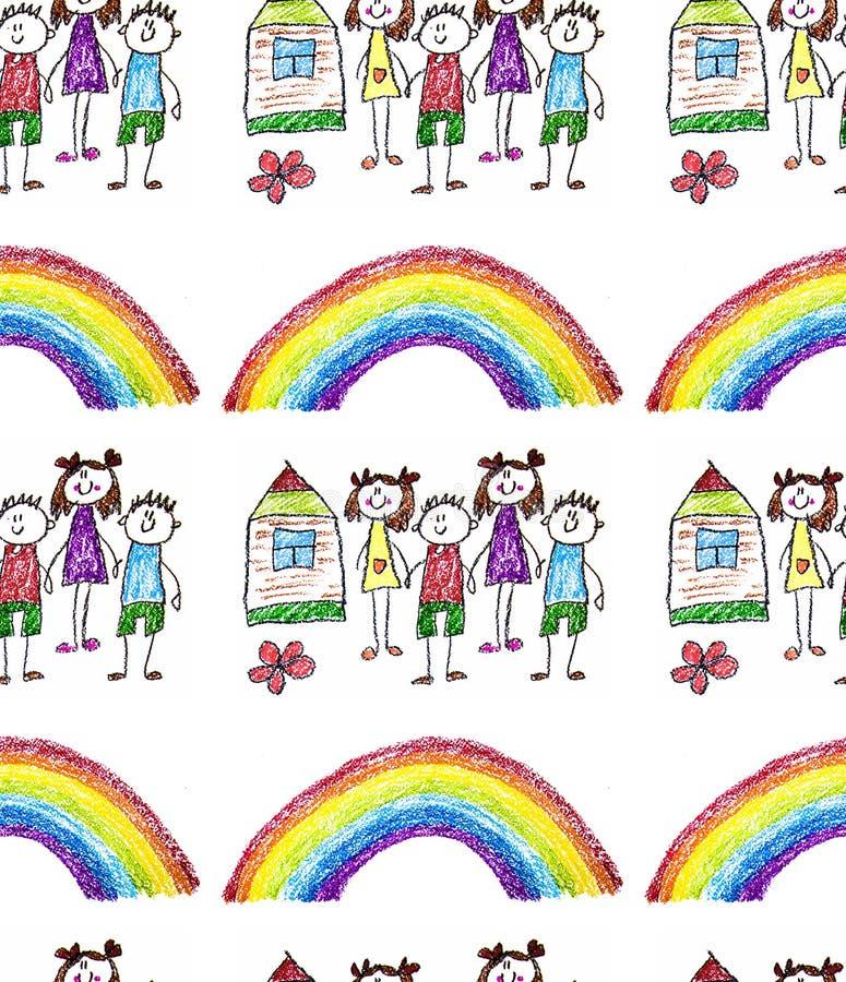 Kind  ?s het schilderen op papier Jonge geitjes die beeld trekken Kleine kinderen, jongens en meisjes School, kleuterschoolillust stock afbeelding