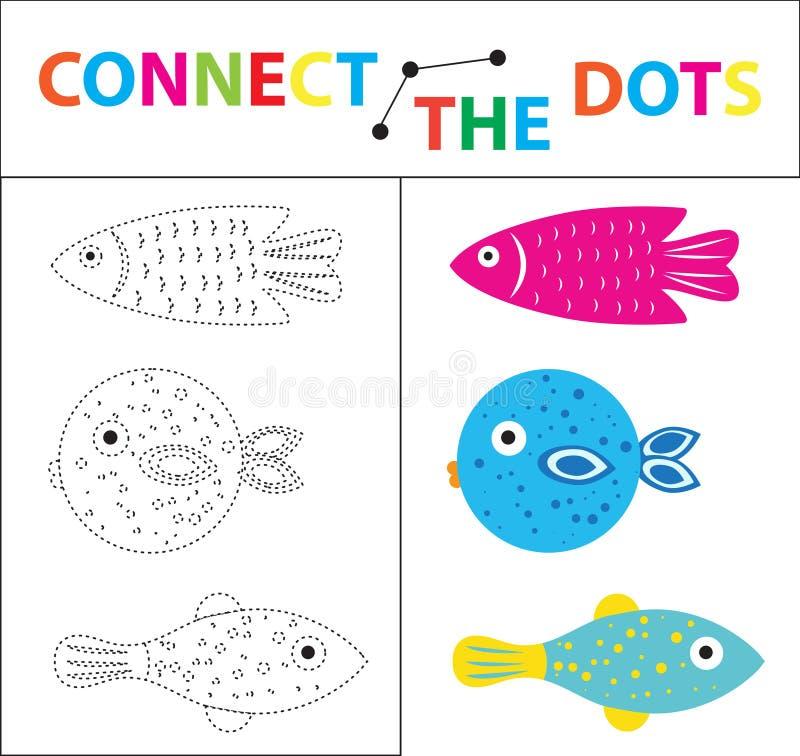 Kind-` s Lernspiel für Bewegungsfähigkeiten Schließen Sie das Punktbild an Für Kinder des Vorschulalters Kreis auf stock abbildung