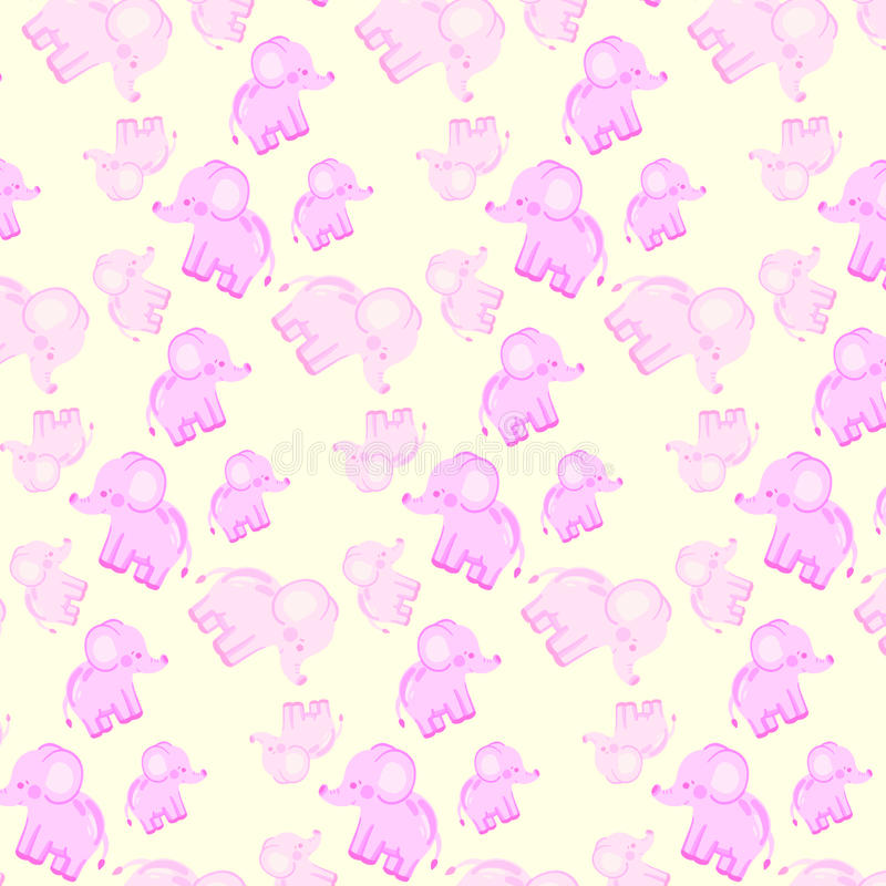 Kind-` s nahtloses Muster mit rosa Elefanten stock abbildung
