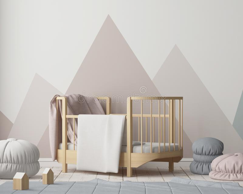 Kind-` s Raum in der skandinavischen Art stock abbildung