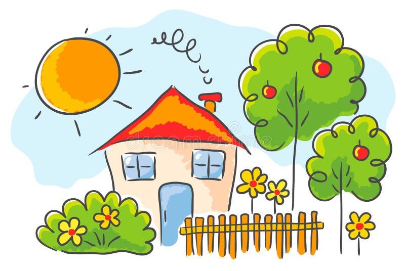 Kind` s tekening van een huis royalty-vrije illustratie
