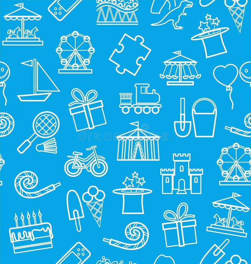 Kind-` s Unterhaltung und Freizeit, nahtloser Hintergrund, Blau, Kontur lizenzfreie abbildung