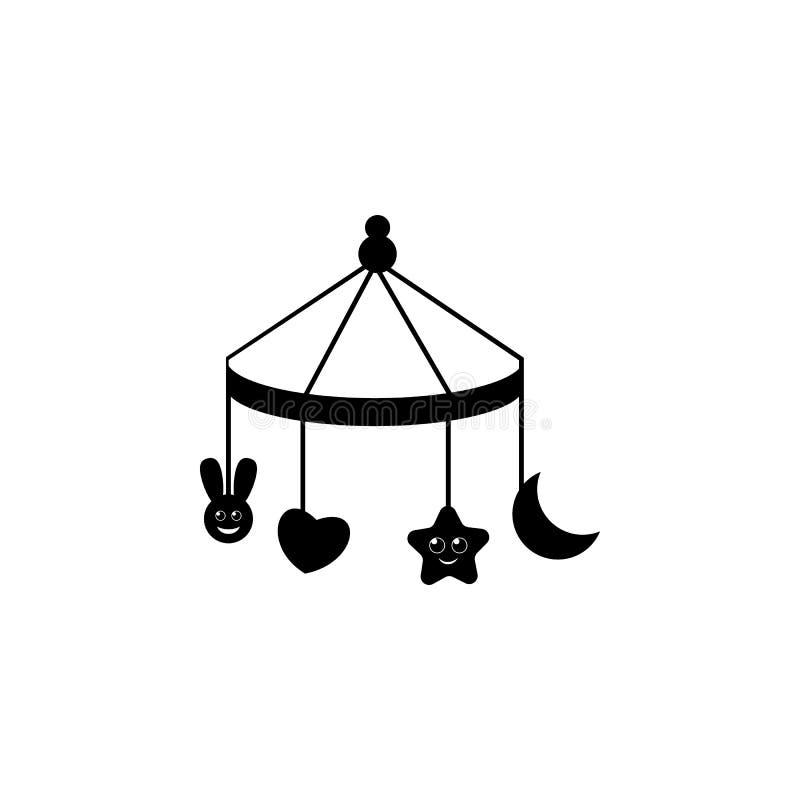 Kind-` s Windeln, ein Spielzeug über der Krippenikone Babyelementikone Erstklassige Qualitätsgrafikdesignikone Zeichen, Entwurfss stock abbildung