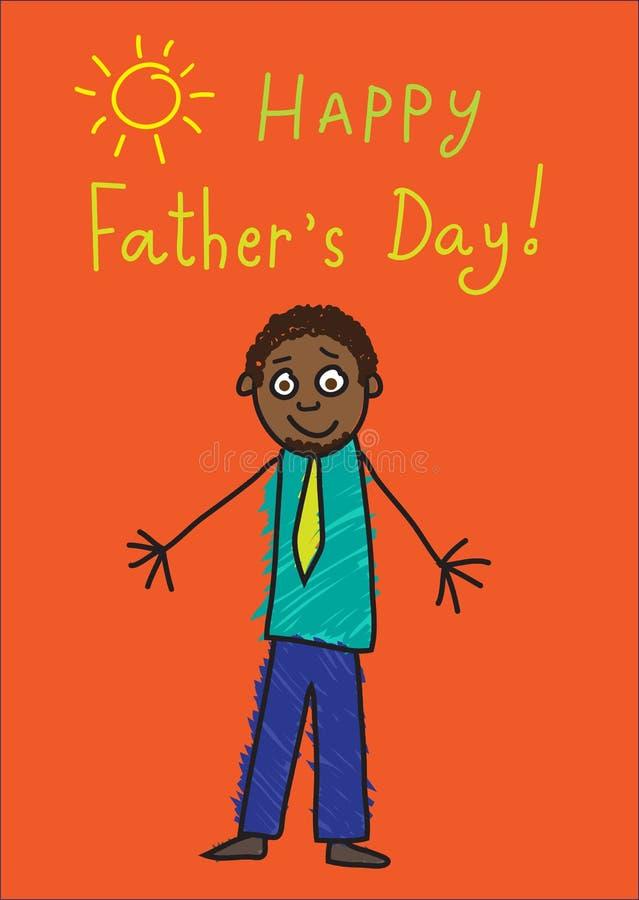 Kind-` s Zeichnung Vater `s Tag Afrikanischer Mann im Bild lizenzfreie abbildung