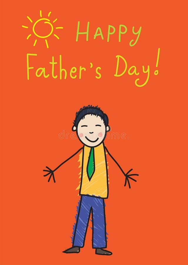 Kind-` s Zeichnung Vater `s Tag Asiatischer Mann auf dem Bild lizenzfreie abbildung