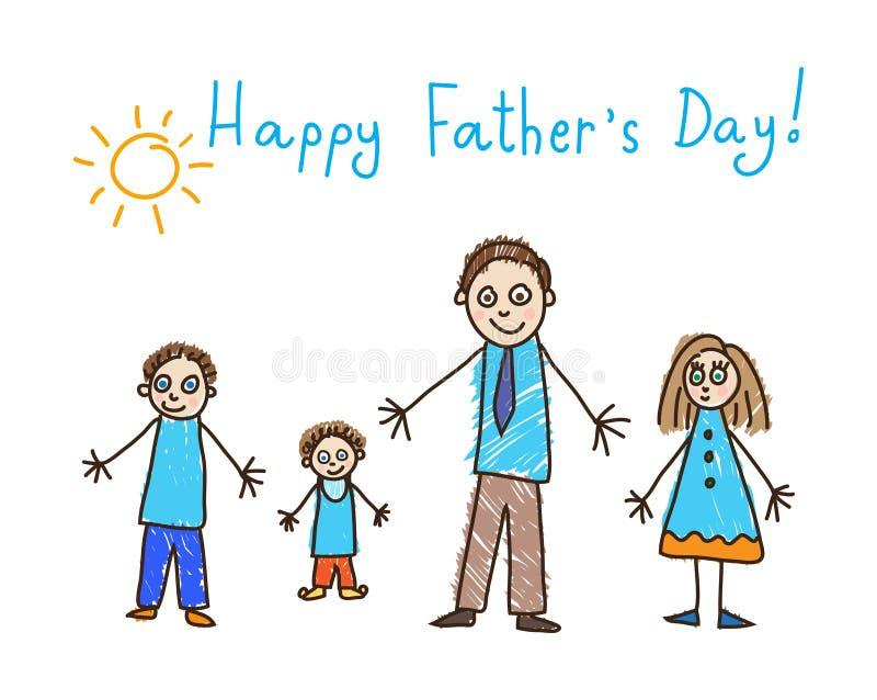 Kind-` s Zeichnung Vater `s Tag Vater und drei Kinder stock abbildung