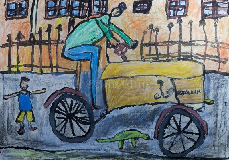 Kind-` s Zeichnungen - Traktorfahrer stock abbildung