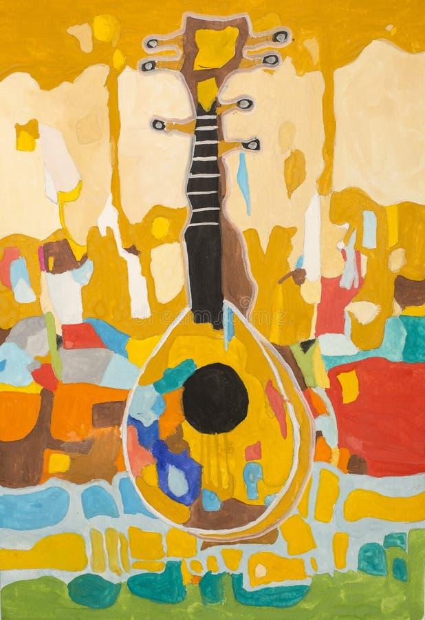 Kind-` s Zeichnungs-Gouache dekoratives Stillleben mit Musikinstrument vektor abbildung