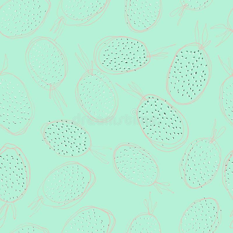 Kind-` s Zeichnungsdrache-Frucht pitahaya im Abschnitt, nahtloses Muster lizenzfreie abbildung