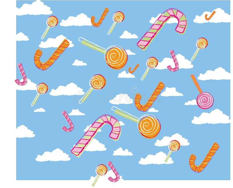 Kind-` s Zuckerrohr und llollipop vector Illustrationsmuster lizenzfreie stockfotos