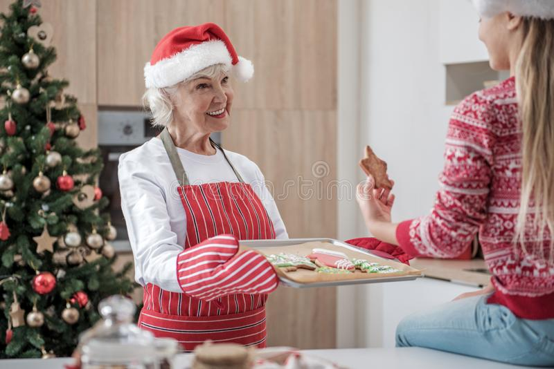 Kind senior woman treating granddaughter by Christmas cookies royalty free stock photography