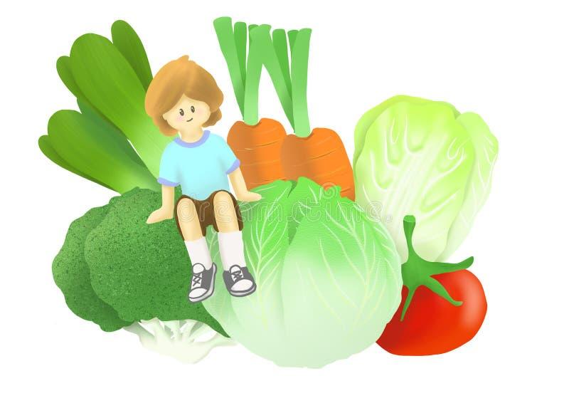 Kind sitzt auf großem Gemüse einer Gruppe stock abbildung